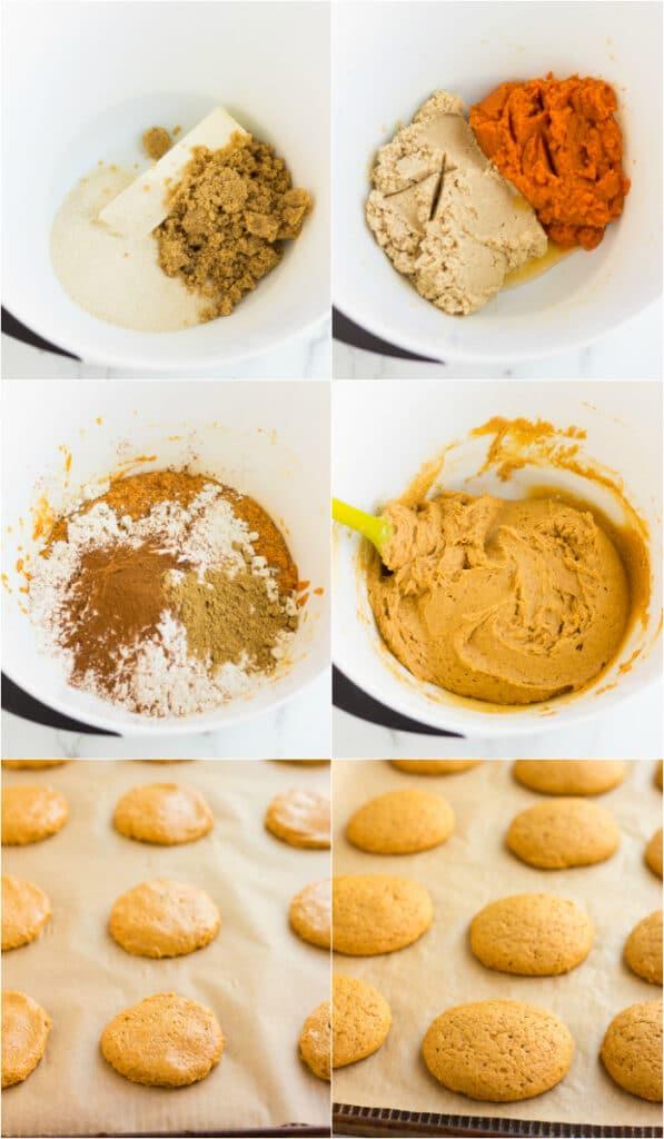 collage of how to make vegan pumpkin cookies
