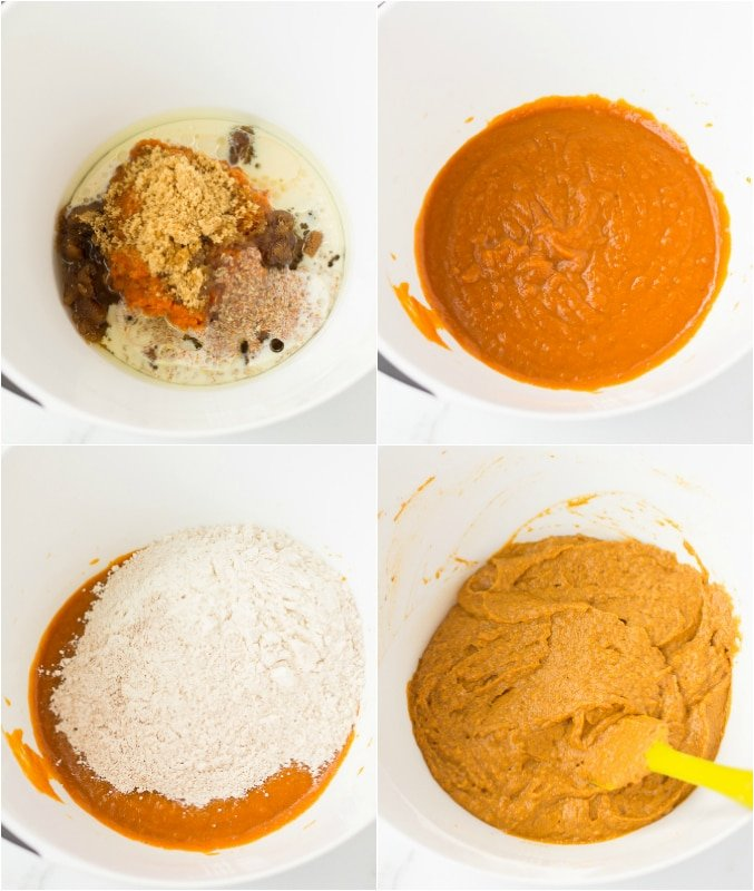 collage showing how to make vegan pumpkin bread