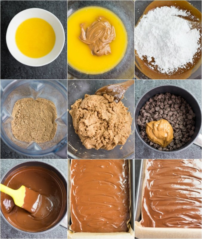 collage of how to make vegan chocolate peanut butter bars