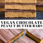 Pinterest collage of chocolate peanut butter bars