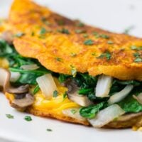 square image of close up vegan omelette