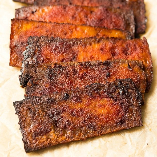 square image of tofu bacon
