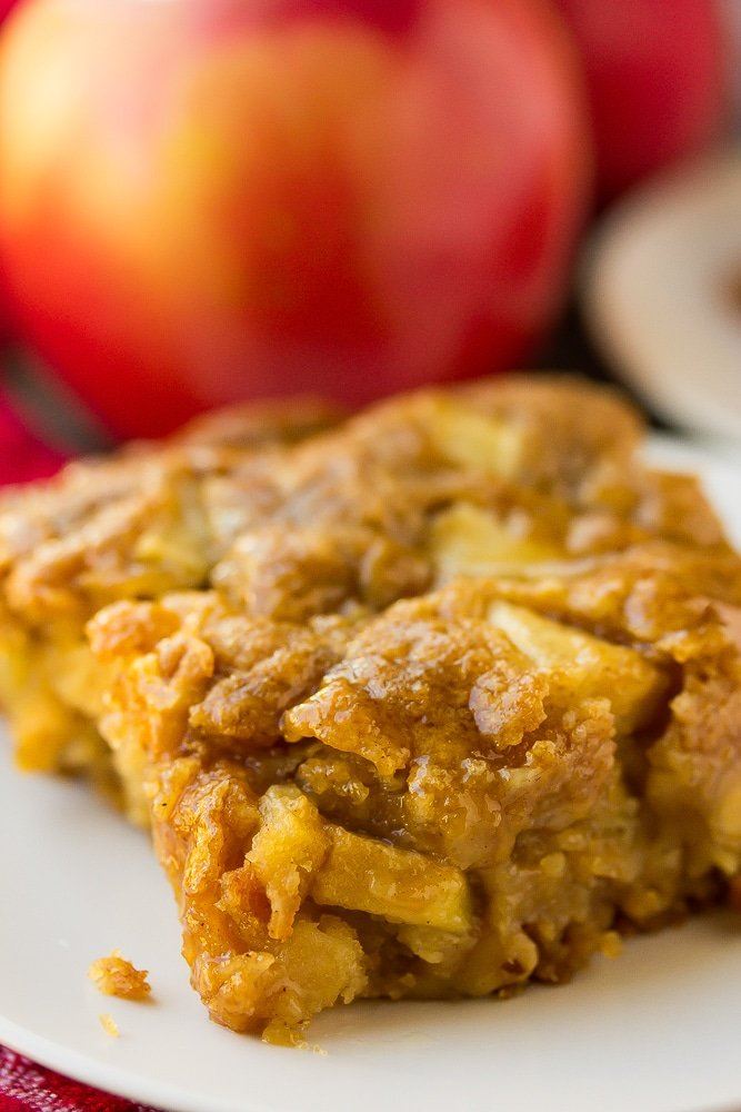 very close up of apple cake with apple in background