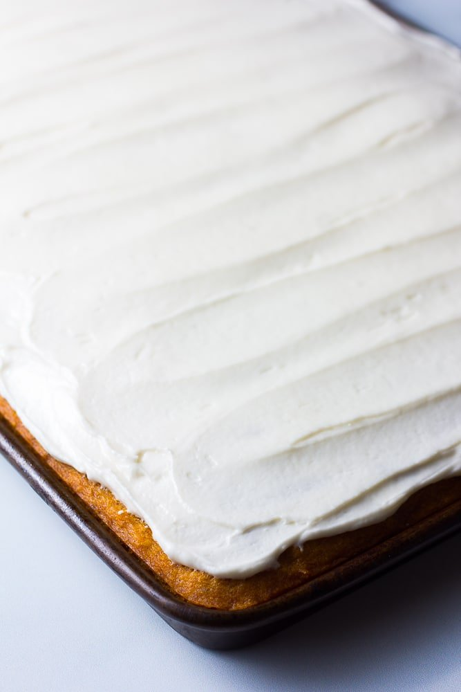 frosted, uncut pumpkin sheet cake
