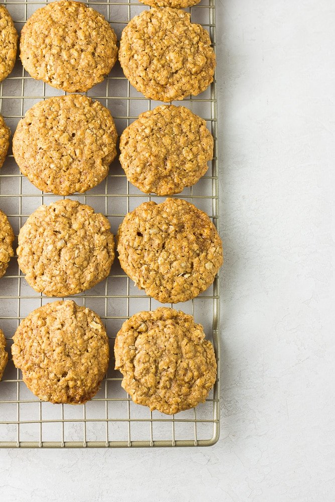 not iced vegan oatmeal cookies on cooling rack