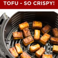 pinterest image with text box for air fryer tofu