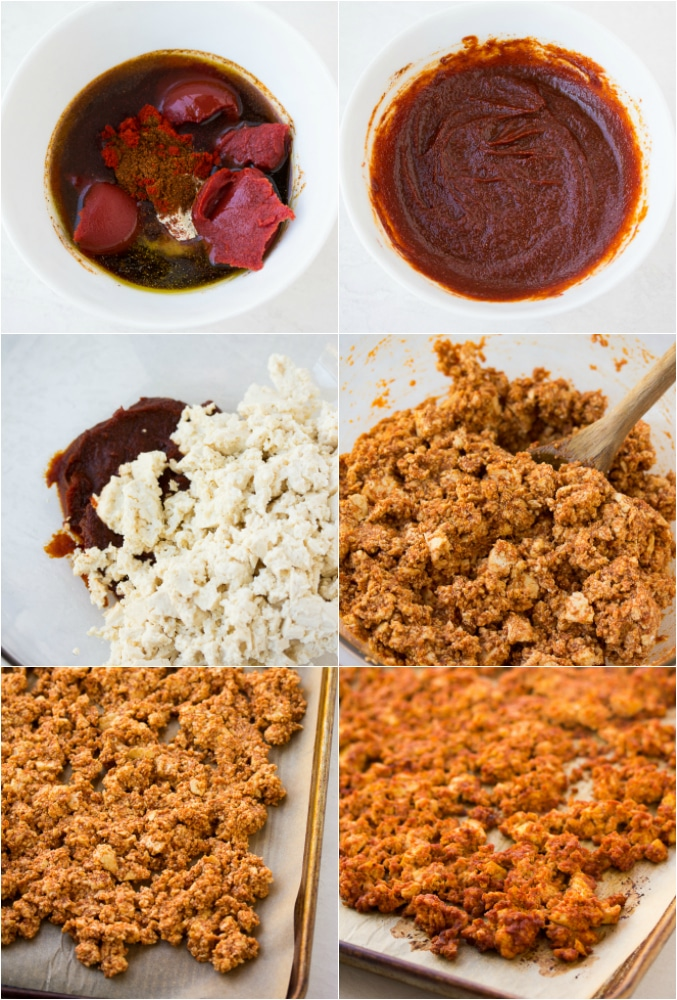 """collage of how to make vegan tacos with tofu """"meat"""""""