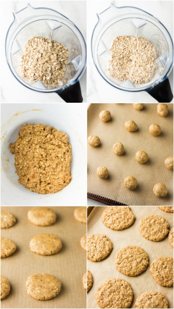collage of vegan oatmeal cookies, how to make them.