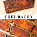 Pinterest collage of tofu bacon with text