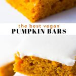 Pinterest collage of pumpkin cake bars with text