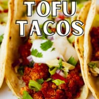 pinterest photo with text overlay for easy tofu tacos
