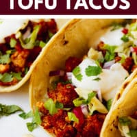 Pinterest image with text overlay for quick and easy tofu tacos