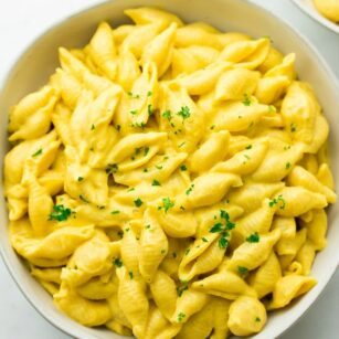 square image of mac and cheese shells