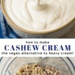 Pinterest collage of cashew cream with text