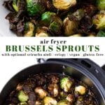 Pinterest collage of air fryer brussels sprouts with text