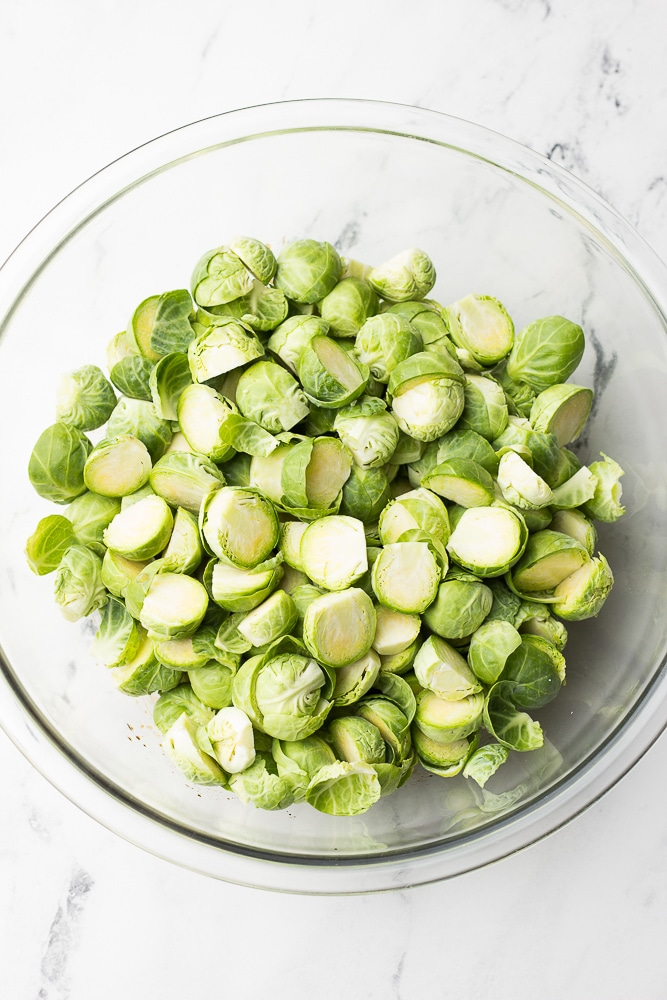 bowl of uncooked brussels sprouts