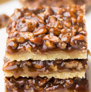 3 stacked vegan pecan bars
