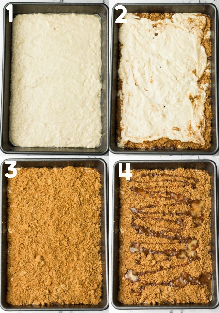collage of how to layer coffee cake before baking