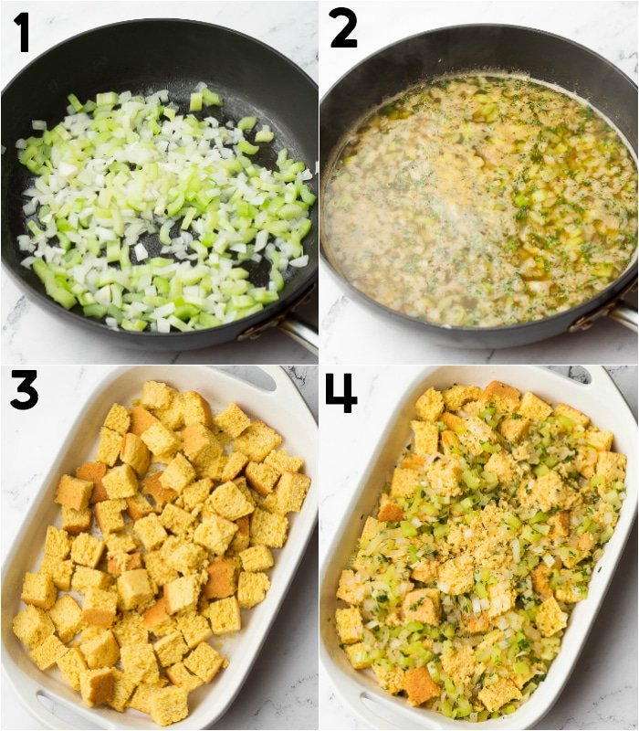 collage of how to make cornbread stuffing