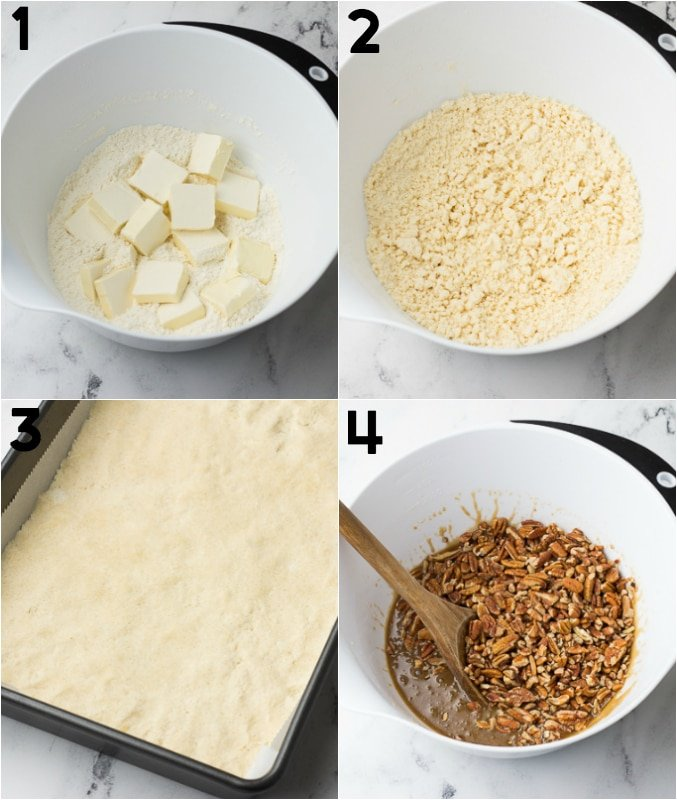 collage of how to make shortbread crust