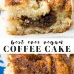 pinterest collage of vegan coffee cake with text