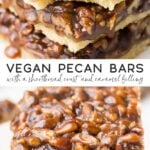 pinterest collage of vegan pecan bars