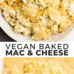 Pinterest collage of vegan baked mac and cheese