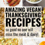 vegan thanksgiving recipes collage with text