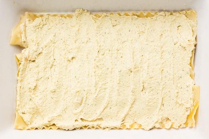 showing vegan ricotta layered