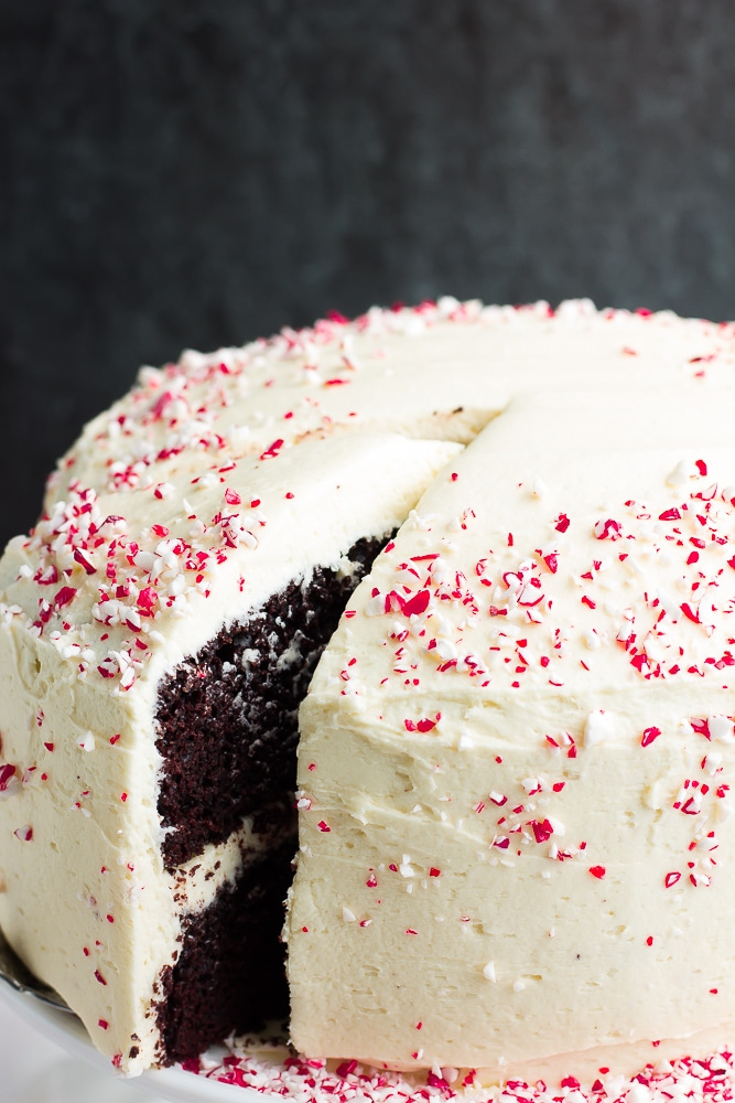 whole peppermint mocha cake with a slice being removed