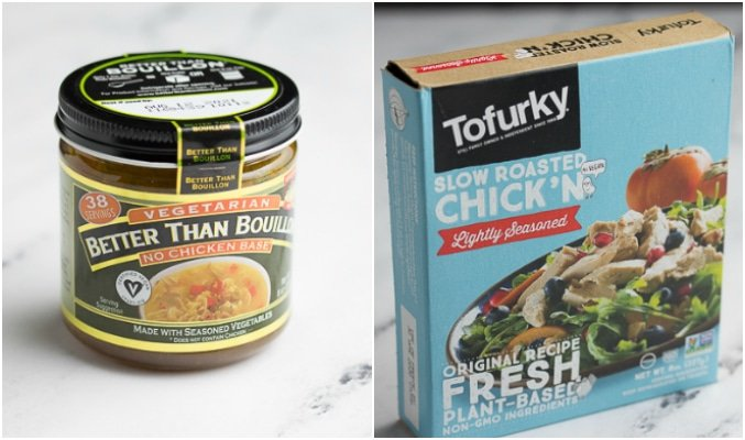 collage showing vegan chicken broth and tofurky chicken.