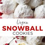Pinterest collage of vegan snowball cookies with text