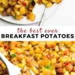 Pinterest image of breakfast potatoes with text