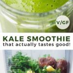 pinterest collage of kale smoothie with text