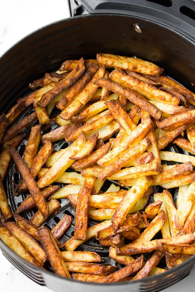 crispy golden fries in air fryer basket