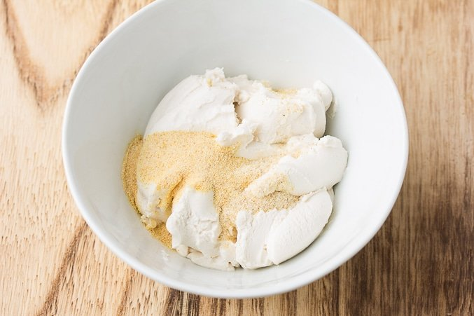 bowl of vegan cream cheese and spices
