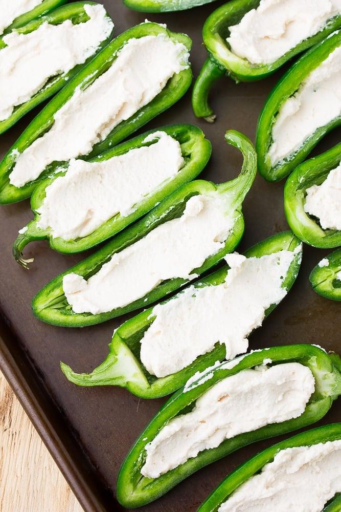 cream cheese inside vegan jalapeno poppers