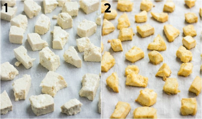 collage of before and after baking tofu that is ripped like chicken
