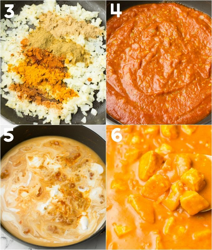 collage of how to make tofu tikka masala sauce