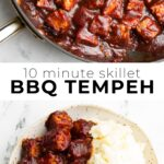 pinterest collage of 10 minute skillet bbq tempeh with text