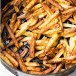 square image of fries in instant pot basket
