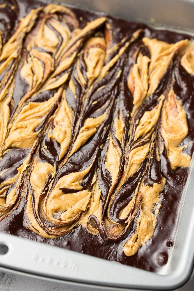 uncooked peanut butter swirl brownies