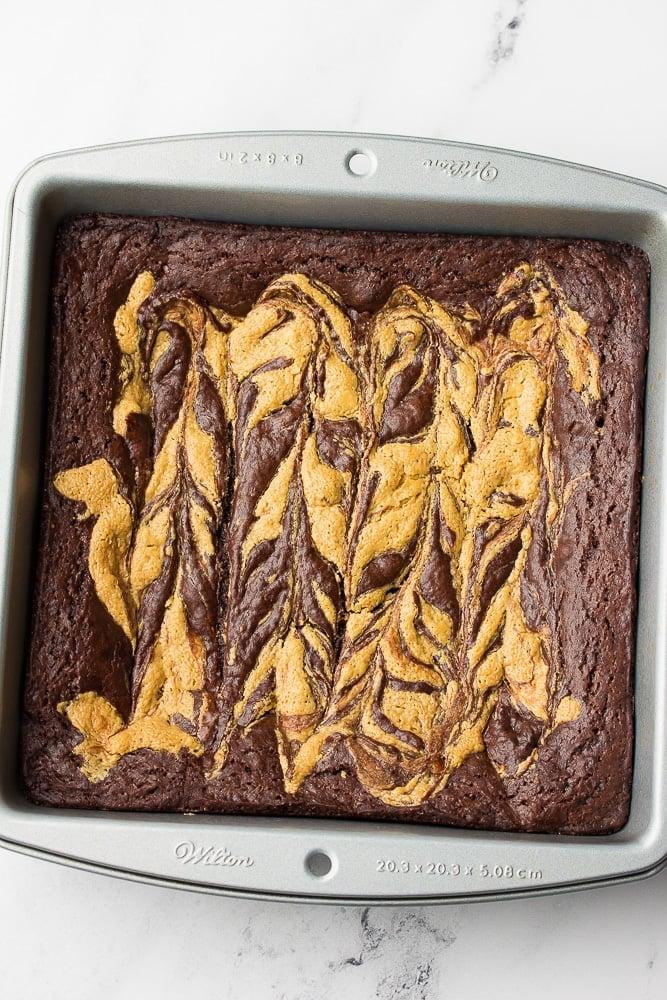 pan of unsliced brownies