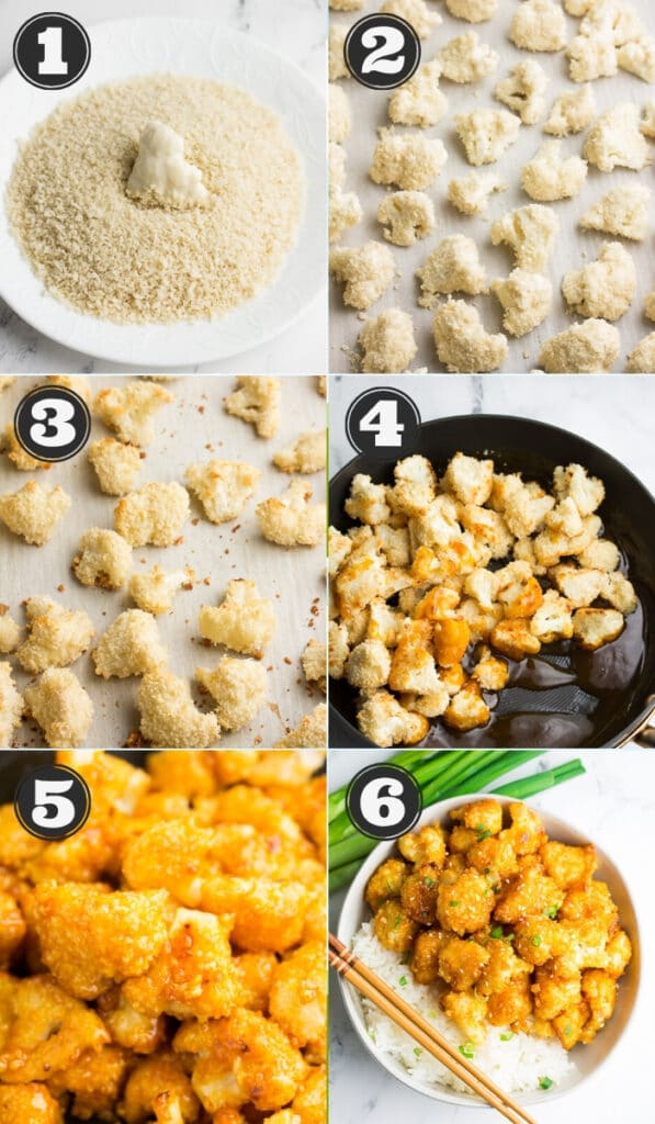 collage of how to make orange cauliflower