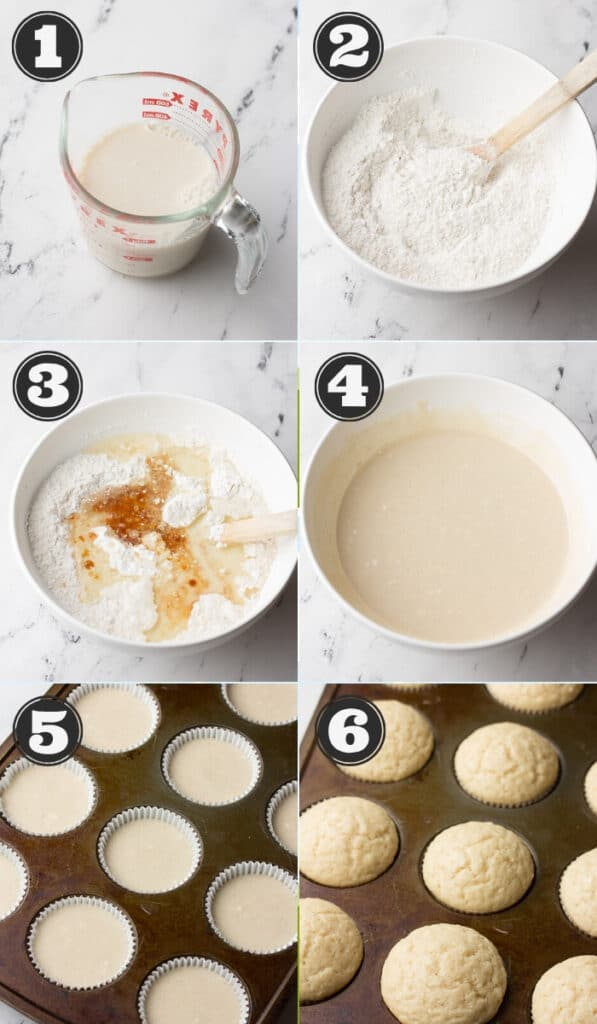 collage of how to make vegan vanilla cupcakes