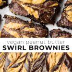 pinterest collage vegan peanut butter brownies