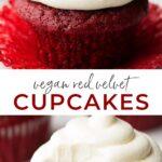 Pinterest collage of vegan red velvet cupcakes