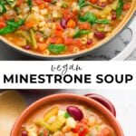 pinterest collage of minestrone soup with text