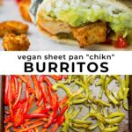 pinterest collage of vegan sheet pan chikn burritos with text
