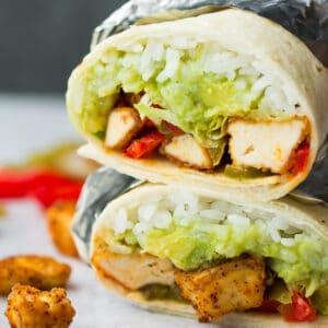 square image of vegan chikn burritos